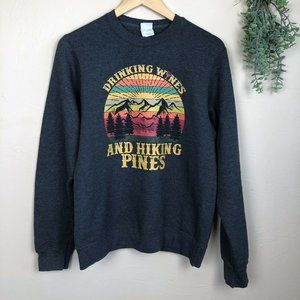 Drinking Wines And Hiking Pines Graphic Crew Neck